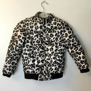 Justice Leopard Print Puffer Jacket - Size 8